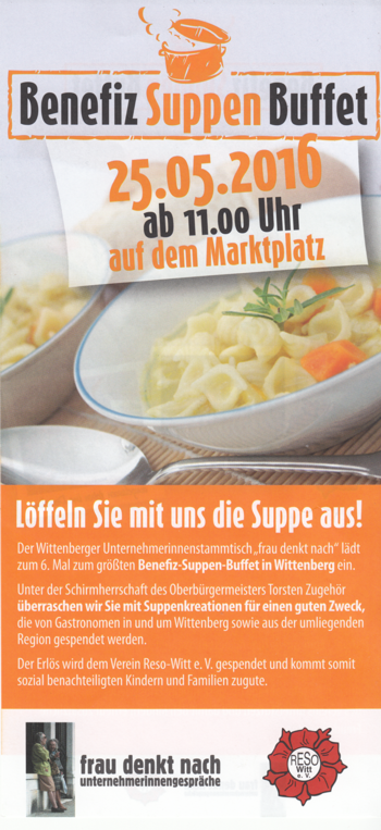 Flyer für Benefiz-Suppen-Buffet, vorn